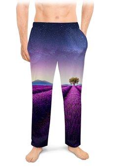 """Мужские пижамные штаны """"Без названия"""" - космос, небо, природа, звёзды, лаванда"""