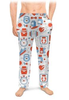 """Мужские пижамные штаны """"Спорт, фитнес"""" - сердце, спорт, фитнес, похудение"""