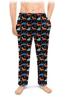 """Мужские пижамные штаны """"Спокойный сон"""" - собака, рыжий, кардиган, корги, вельшкорги"""