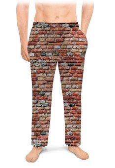 """Мужские пижамные штаны """"КИРПИЧИКИ"""" - абстракция, стена, кирпич, стиль эксклюзив креатив красота яркость, арт фэнтези"""