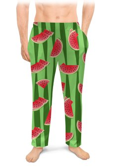 """Мужские пижамные штаны """"Арбуз"""" - арбуз, полоски, семена, дольки"""