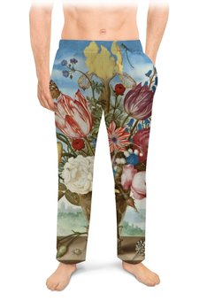 """Мужские пижамные штаны """"Букет цветов на полке (Амброзиус Босхарт)"""" - цветы, картина, живопись, натюрморт, босхарт"""