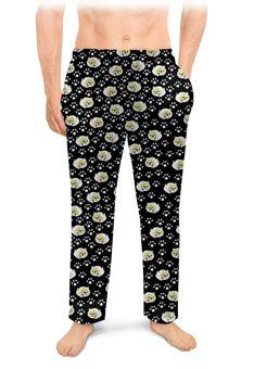 """Мужские пижамные штаны """"Следы в ночи"""" - кошки, коты, котики, два кота, кошачий след"""