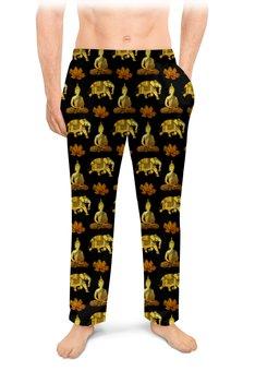 """Мужские пижамные штаны """"Тайский узор"""" - слон, золотой, роскошь, таиланд, элегантный"""