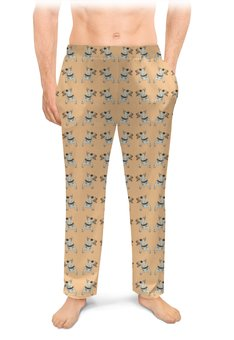 "Мужские пижамные штаны ""Бультерьеры"" - собака, бультерьер, терьер, питомец, любимец"