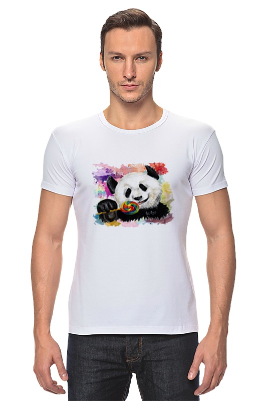 Футболка Стрэйч Printio Панда с леденцом позиционеры для сна candide позиционер с подголовником воздухопроницаемая панда air