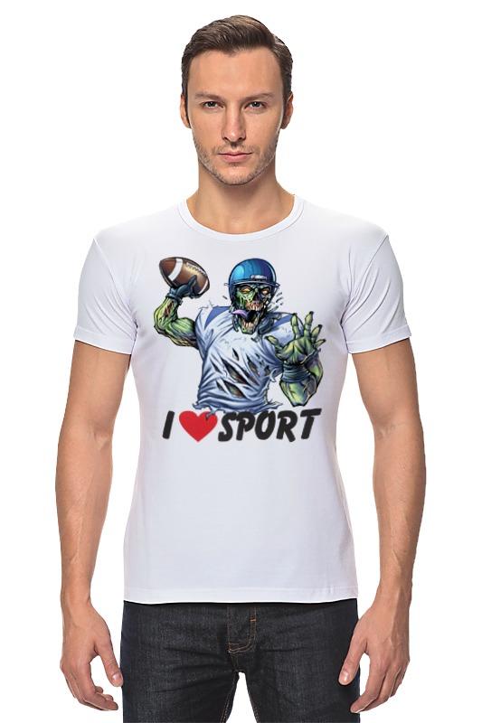 Футболка Стрэйч Printio Зомби спорт - я люблю спорт