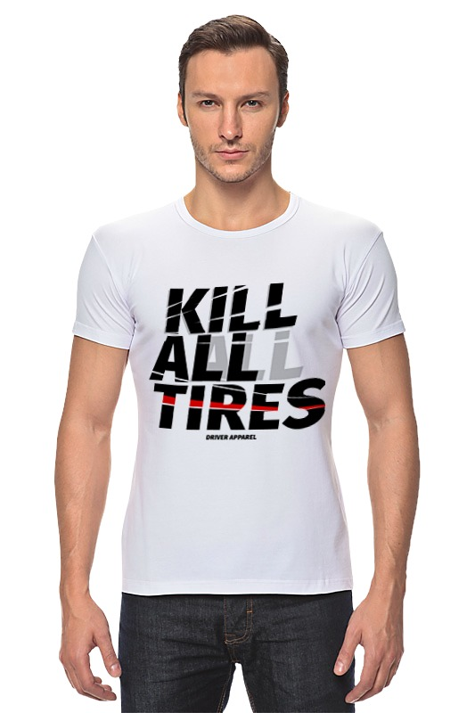 Футболка Стрэйч Printio Kill all tires - drift car vans metallica kill em all