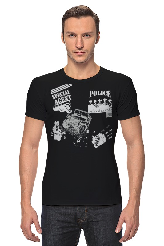 Футболка Стрэйч Printio Spcial agent (police) police pl 12921jsb 02m