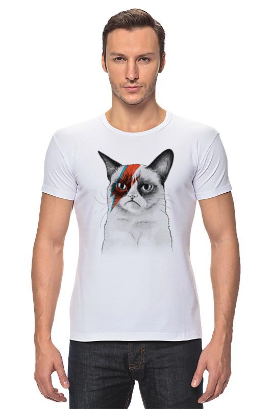 Футболка Стрэйч Printio Grumpy cat x bowie
