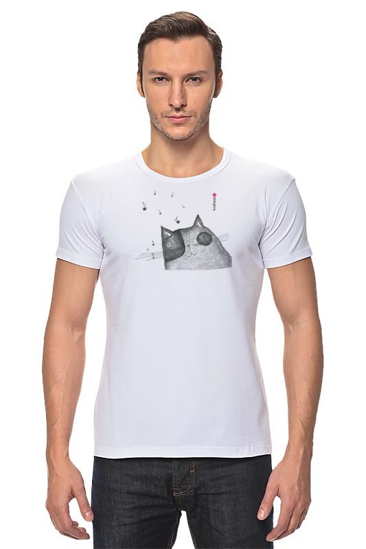 Футболка Стрэйч Printio Music cat