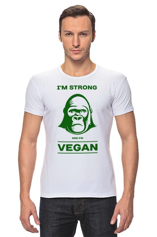 Футболка Стрэйч Printio I'm strong & i'm vegan отсутствует природные ресурсы и окружающая среда