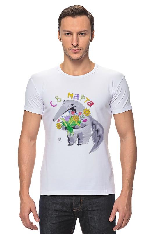 Футболка Стрэйч Printio Муравьед с цветами майка классическая printio муравьед с цветами