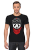 "Футболка Стрэйч (Мужская) ""Soviet panda"" - звезда, панда, panda, пилот"