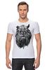 "Футболка Стрэйч (Мужская) ""Лев Викинг"" - лев, lion, викинг"