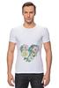 """Футболка Стрэйч (Мужская) """"сердце"""" - сердце, heart, цветы, rose, акварель"""