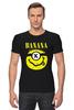 """Футболка Стрэйч (Мужская) """"Миньон (Banana)"""" - nirvana, пародия, нирвана, миньон, банана"""