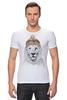 """Футболка Стрэйч (Мужская) """"Лев в шапке"""" - лев, lion, царь зверей"""