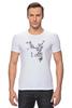 "Футболка Стрэйч (Мужская) ""Японская сакура"" - цветы, вишня, иероглифы, сакура"