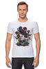 "Футболка Стрэйч (Мужская) ""Череп и ворон"" - skull, арт, авторские майки, black, red, tattoo, тату, розы, raven, roses"