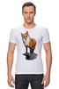 """Футболка Стрэйч (Мужская) """"Лисица"""" - животные, red, рисунок, fox, лиса, рыжая"""