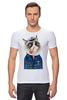 "Футболка Стрэйч (Мужская) ""kitty"" - cat, котэ, трубка, hipster, sailor, моряк"