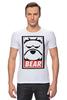 """Футболка Стрэйч (Мужская) """"Мишка (Bear, Obey)"""" - bear, медведь, obey"""
