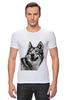 """Футболка Стрэйч (Мужская) """"Добродушный волк"""" - хищник, animal, волк, wolf"""