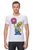 """Футболка Стрэйч """"Гомер с Пончиком"""" - симпсон, гомер, пончик, the simpsons, donut"""