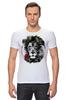 """Футболка Стрэйч (Мужская) """"Лев и роза"""" - лев, lion, царь зверей"""