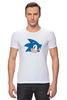 "Футболка Стрэйч (Мужская) ""Sonic hedgehog head"" - nintendo, sonic, sega, сега, соник ёж, ёжик соник, video games"