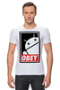"Футболка Стрэйч ""Android (Obey)"" - android, робот, obey, андроид, повинуйся"