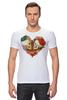 "Футболка Стрэйч ""Skull Art"" - skull, сердце, цветы, череп, heart"