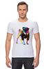 """Футболка Стрэйч (Мужская) """"Мопс-космос"""" - радуга, dog, pug, космос, собака, цветная, мопс, suit"""