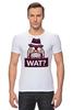 """Футболка Стрэйч (Мужская) """"WAT?              """" - вопрос, шляпа"""