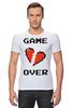 """Футболка Стрэйч (Мужская) """"Game Over (Игра Окончена)"""" - пиксель арт, 8 бит, 8-bit, расставание, разбитое сердце"""