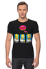"Футболка Стрэйч (Мужская) ""Homer Simpson & Donut"" - симпсоны, гомер симпсон, the simpsons, donut"