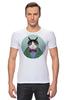 """Футболка Стрэйч (Мужская) """"Кот в костюме"""" - кот, смешные, прикольные, cat, well dressed animal, suit, кот в одежде, зоопортрет, галстук-бабочка"""