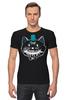 """Футболка Стрэйч """"Улыбчивый кот"""" - кот, smile, кости, cat"""