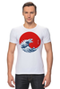 """Футболка Стрэйч (Мужская) """"Годзилла из волны"""" - япония, japan, ocean, годзилла, godzilla"""