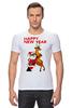 "Футболка Стрэйч ""Happy New Year"" - праздник, happy new year, новый год, стиль, санта, олень, santa claus, deer"