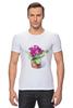 """Футболка Стрэйч (Мужская) """"цветы """" - арт, цветы, акварель, герань"""