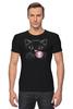 """Футболка Стрэйч (Мужская) """"Чёрная кошка"""" - кот, кошка, пузырь, black cat, жвачка"""