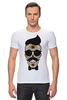 "Футболка Стрэйч ""Череп, усы и бабочка"" - skull, череп, арт, усы, hipster, mustache"