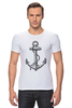 """Футболка Стрэйч (Мужская) """"Держись сильнее за якорь"""" - якорь, anchor, sailor, флот, гребенщиков, бг, держись сильнее за якорь"""