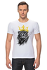 """Футболка Стрэйч """"Лев в короне"""" - king, корона, лев, царь зверей, crown"""