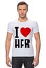 """Футболка Стрэйч (Мужская) """"I LOVE HER"""" - сердце, любовь, heart, i love"""