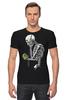 """Футболка Стрэйч (Мужская) """"Скелет с плеером"""" - skull, череп, скелет, кости"""