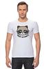 "Футболка Стрэйч (Мужская) ""Hello Kitty x Grumpy Cat"" - кот, кошка, grumpy cat, привет киска, сердитый котик"
