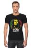 "Футболка Стрэйч (Мужская) ""Bob Marley"" - регги, боб марли, bob marley, reggae, ска"